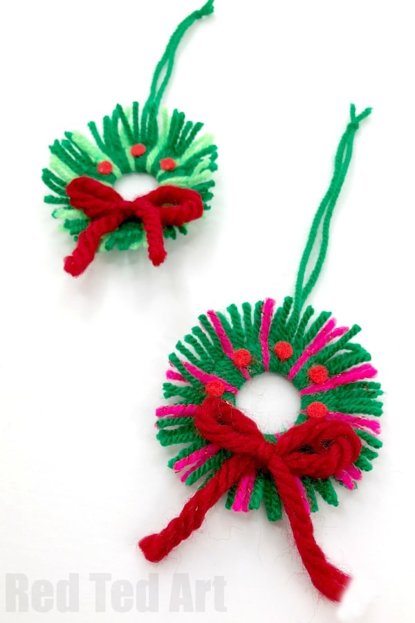Easy Yarn Wreath Ornament.