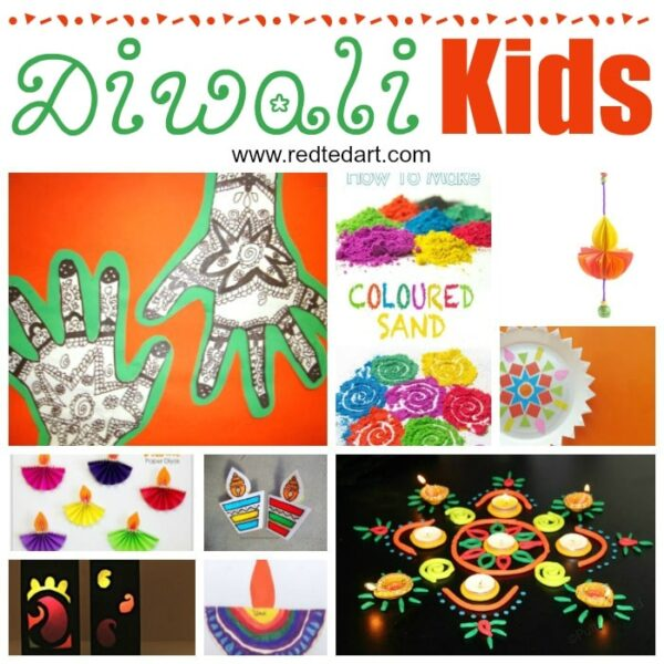 Collage of easy kids crafts for Diwali