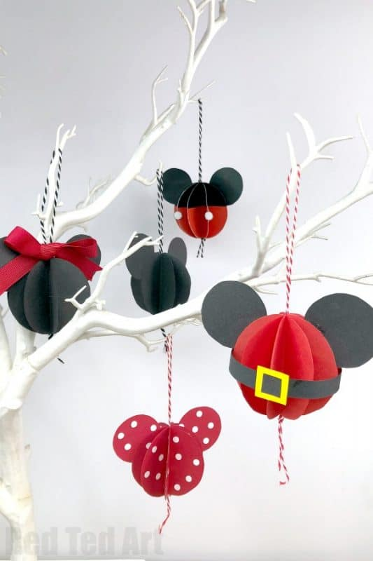 Paper Mickey Mouse Ornament DIY. How to make a Homemade Mickey Mouse Ornament for Christmas. Includes free printable. Disney Christmas Crafts for Kids