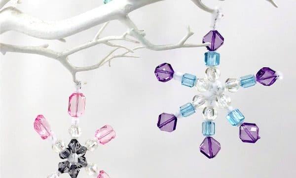 Beaded Pipe Cleaner Snowflakes Ornaments DIY