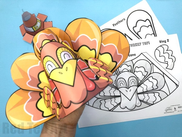 graphic relating to Printable Turkey identified as 3D Printable Turkey Craft - Purple Ted Artwork