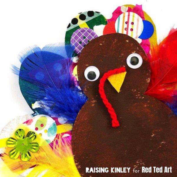 Cardboard Turkey Craft for Preschool - cute collage turkeys with free template. #thanksgiving #turkey #preschool