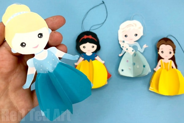 Printable Paper Disney Doll DIY - learn how to make 3d Disney Dolls from paper. Free Disney Printables. Paper Princess Dolls & Princess Christmas Ornaments