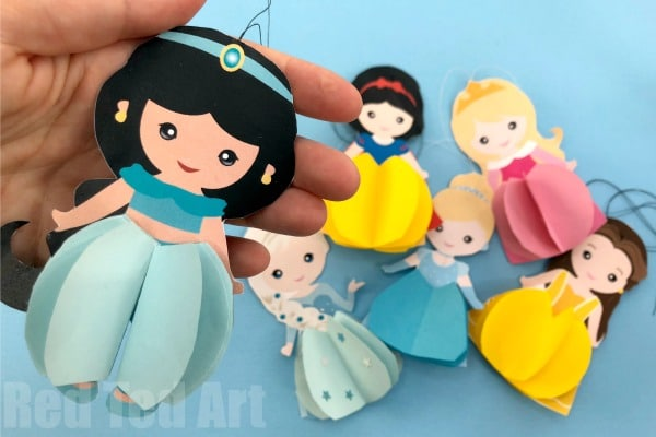 How to make a Jasmine Paper Doll. Great Paper Jasmine Doll Ornament for the Christmas Tree or Party Decor too! Adorable Paper Jasmine Printable!