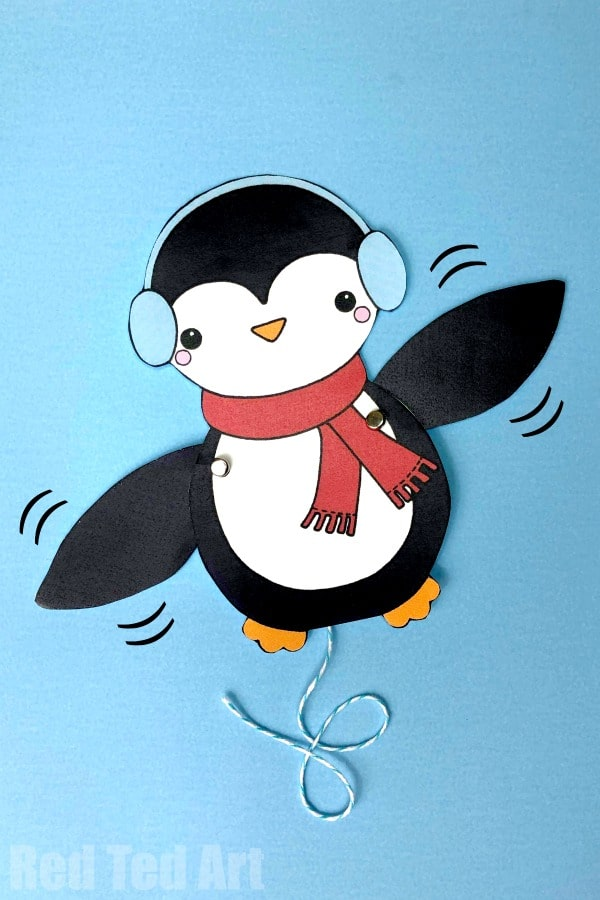 Paper Penguin Puppet. Penguin Coloring Pages. How to make an articulated paper puppet penguin #Christmas #Winter #Printables