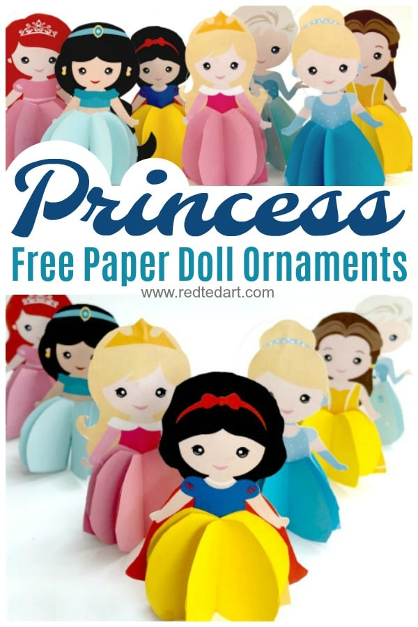 Paper Princess Doll Ornaments - a great 3d Paper Doll or hang these into your Christmas tree as a Princess Christmas Ornament. Free Printable