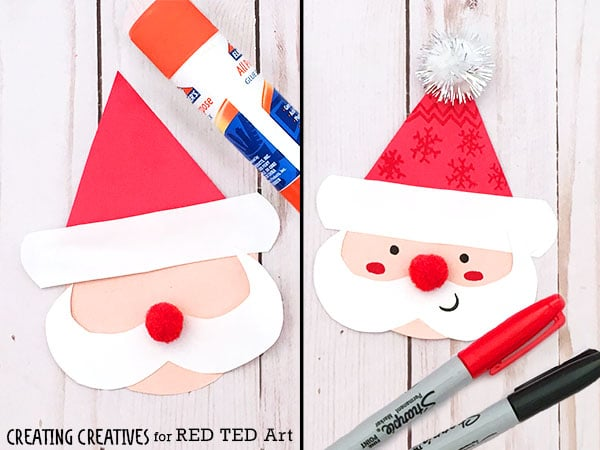 Easy Paper Santa Lantern for Christmas. Love this Paper Christmas Craft for kids. Santa Lantern decorations. Just the cutest! Thank you Creating Creatives! #Christmas #paper #santa