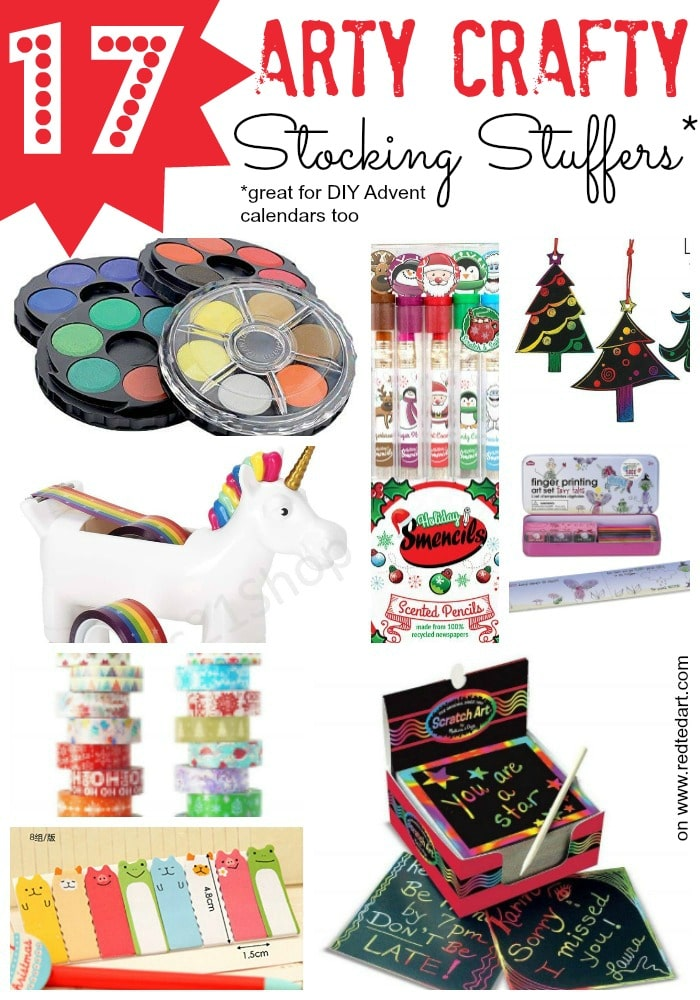 Craft Stocking Stuffers for Kids - great Arty Stocking Stuffer Ideas for Kids. These also make good Advent Calendar gift ideas. Recommended by Red Ted Art
