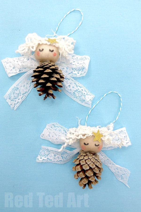 Have a go at crafting with pine cones! Make these adorable Pine Cone Angel Ornaments form pine cones and lace! #christmas #ornaments #angels #nature