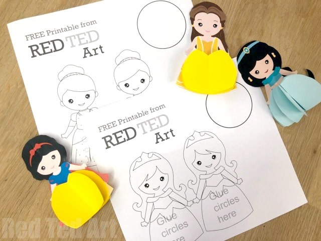 3d Princess Paper Doll Coloring Pages - turn these intp 3d Paper Dolls or adorable Princess Christmas Decorations