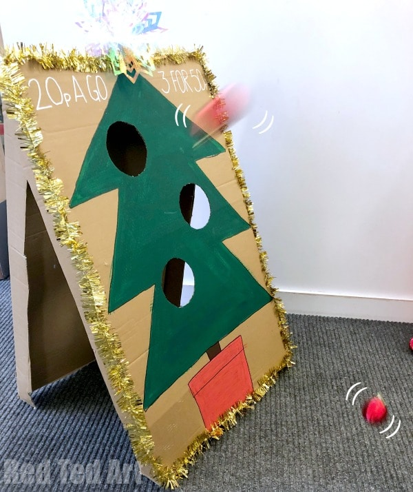 DIY Christmas Tree Toss - Christmas Party Games. How to make a Christmas Tree Bauble toss game. Fun Christmas Party Games for school, church or family Christmas