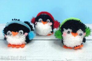 Yarn Christmas Ornaments - Learn how to make pom pom penguins