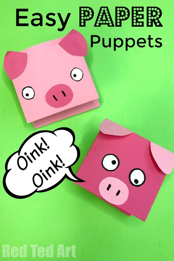Paper Pig Puppet For Kids Red Ted Art