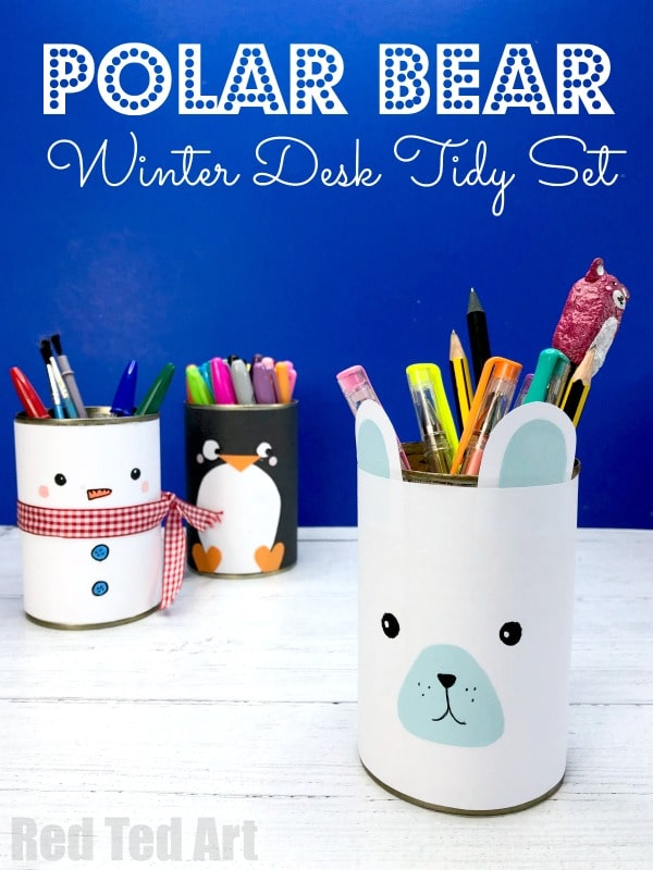 Easy Polar Bear Desk Tidy  - 5 minute craft for Winter or Christmas. Make these super cute Polar Bear Pencil Pots from paper and tin cans. Recycled Craft