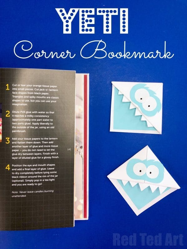 Easy Yeti Corner Bookmark Design. A fun Snow Monster Corner Bookmark for Winter. Paper winter crafts for kids. DIY Bookmark Corner Design. Yeti Crafts