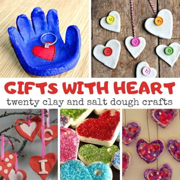 Clay and Salt Dough Hearts gift ideas. Salt Dough Crafts with Heart. Heart Valentine's Gift Ideas. Mother's Day Gift Keepsakes. Adorable Salt Dough Hearts