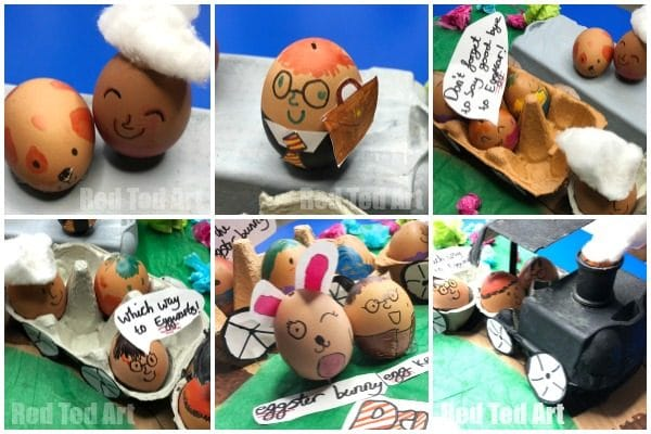 Learn how to make an Egg Carton Train for this Eggcellent EggsPress. Last year's winning School Egg Decorating Competition Entry. We had so much fun creating all the egg characters and details. #eggcarton #eggs #eggdecorating #school