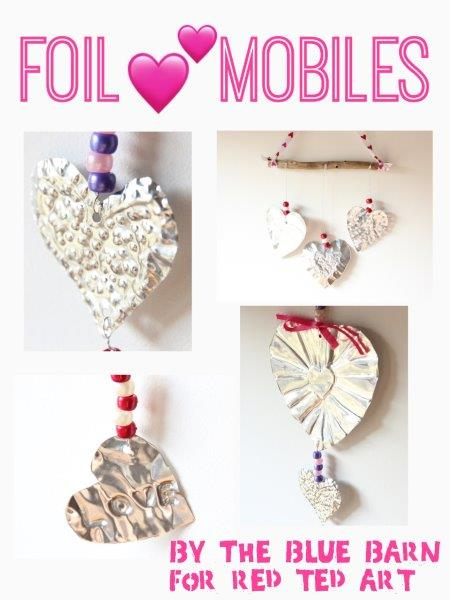 Valentines Wall Hanging. How to make Foil Art Heart Mobiles for Valentine's Day. Foil Art Process for creating Valentines Decorations or Mothers Day Gifts. Easy Foil Art Hearts