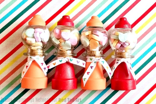 Mini Gumball Machine for Valentines! How to make a gumball machine for Valentine's. Cute Valentine's Gift Idea for kids to make and give. #Valetnines #gumball #giftideas