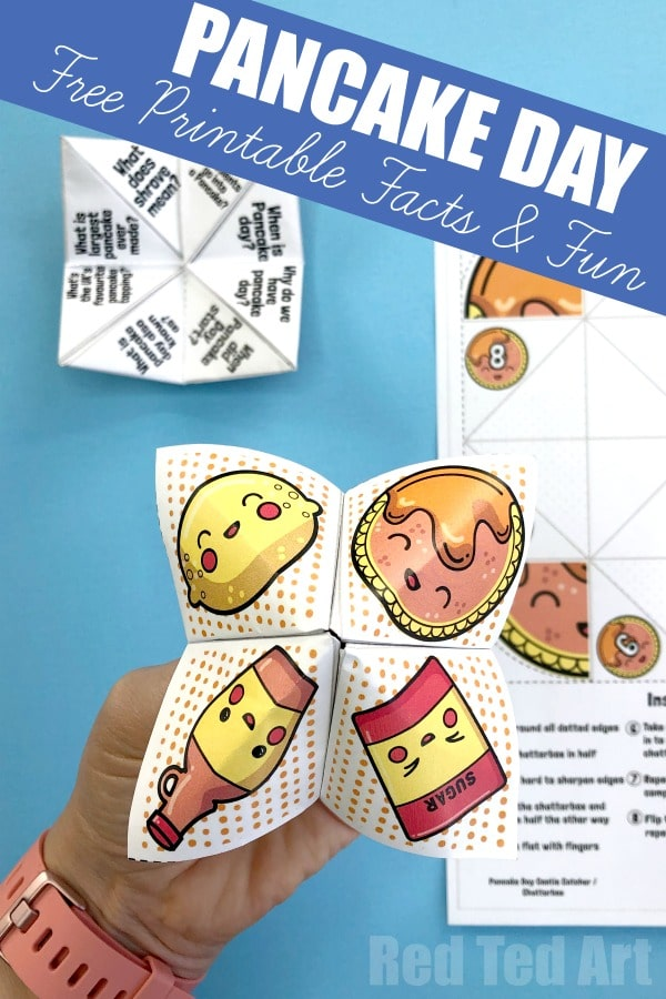 Easy Pancake Day Facts Fortune Teller Printable. Learn all about Pancake Day and why we celebrate it with this free Cootie Catcher Pancake Day Printable. #pancakeday #pancakes #shrovetuesday #printables #teacherresources #teachers #origami #papercrafts