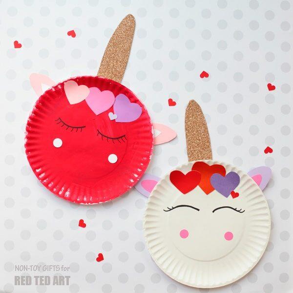 Paper Plate Valentine's Unicorns
