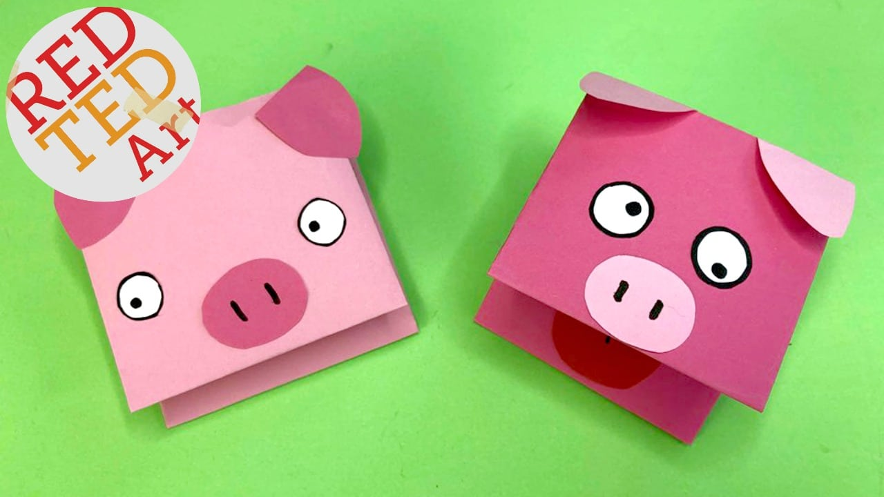 paper pig puppet for kids red ted art rh redtedart com