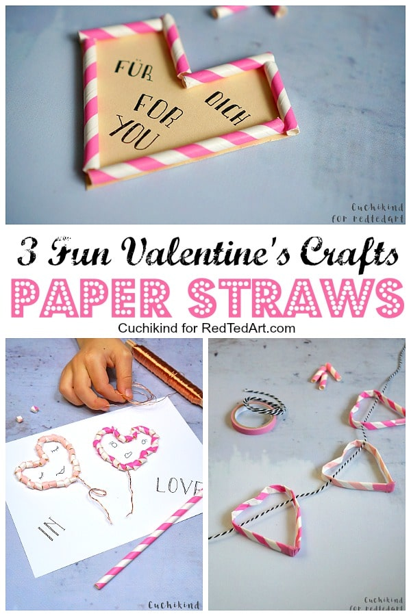 Fun Straw Crafts for Valentine's Day. Quirky Paper Straw Arts and Crafts ideas for kids. 5minute crafts for drinking straws. #valentines #decorations #paperstraws #straws