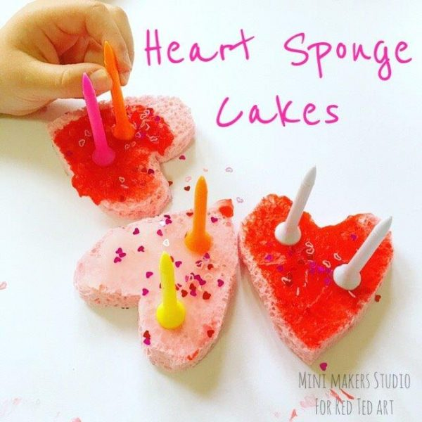Fun with heart sponge cakes