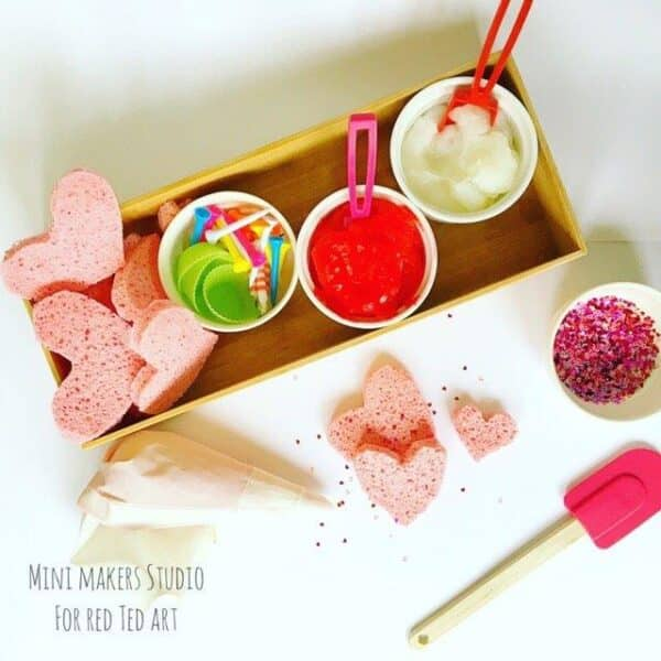 Easy Process Art Activity for Preschoolers this Valentine's. Set up a Sponge Heart Cakes Creation Station. Wonderful Sensory Play this Valentines. Easy. #preschool #processart #sensory #valentines