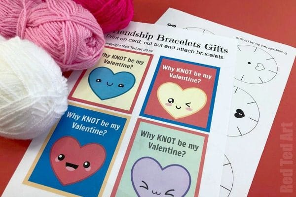 Classroom Valentine's Bracelets For Kids to Make. Beast DIY Friendship Bracelet technique for kids to try. Non Candy Valentine's Day Gift Ideas kids. #valentines #friendship #gifts #noncandy #printables