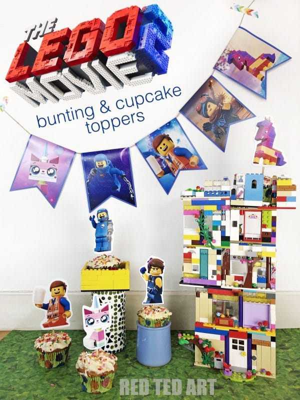 THE LEGO MOVIE 2: BUNTING AND CUPCAKE TOPPERS - super fun printables for all LEGO Move fans. We saw this movie at the weekend and the kids LOVED it! PErfect for anyone hosting a Lego Movie Party or playdate! #legomovie2 #thelegomovie2 #lego #party #printables