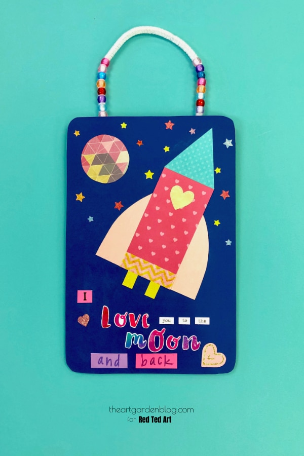 "If you want a sweet Valentines that isn't ""just pinks and reds"" and something more for boys.. try this Out of this World Valentine Rocket Wall Hanging Craft"
