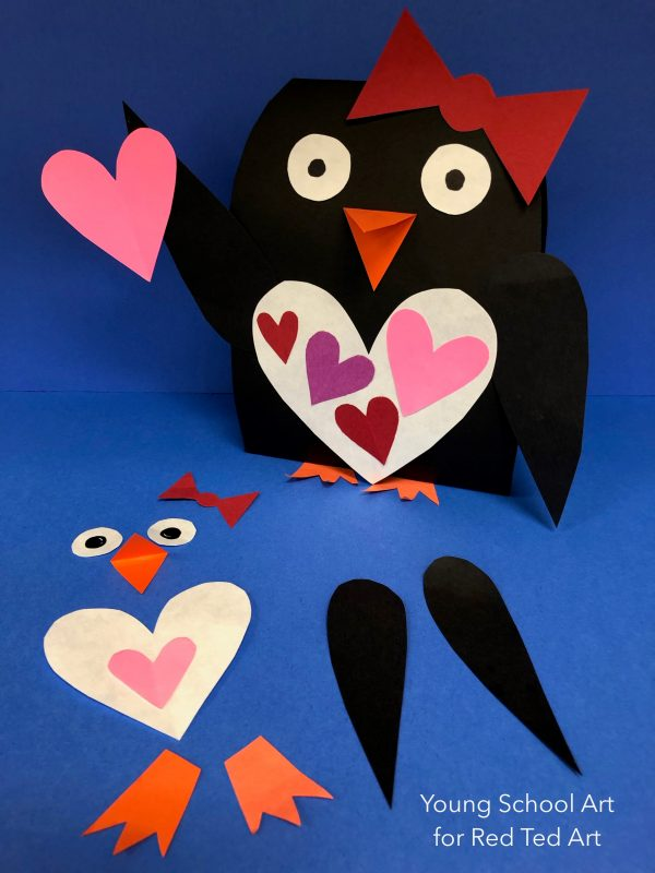 Paper Valentines Penguin Craft - cute & easy Paper Penguin craft for the classroom. Love heart penguins valentine's day craft for kids #valentines #papercrafts #penguins #3d