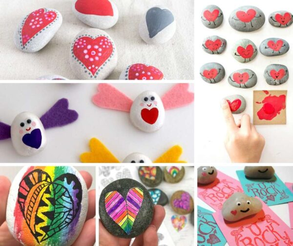 Try out these easy Heart Rocks for Valentine's Day! A fabulous collection of DIY Heart Rock Designs and Ideas. So cute and fun. Nature Crafts for Valentine's and Mother's Day #valentines #hearts #rockpainting #bff