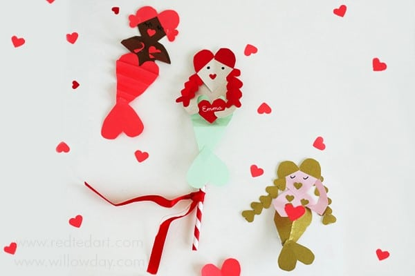 Heart Mermaid Valentine's Day Craft - Adorable Heart Valentine's Ideas. Paper Mermaid Crafts for Valentine's. How to make a Mermaid Valentines Card