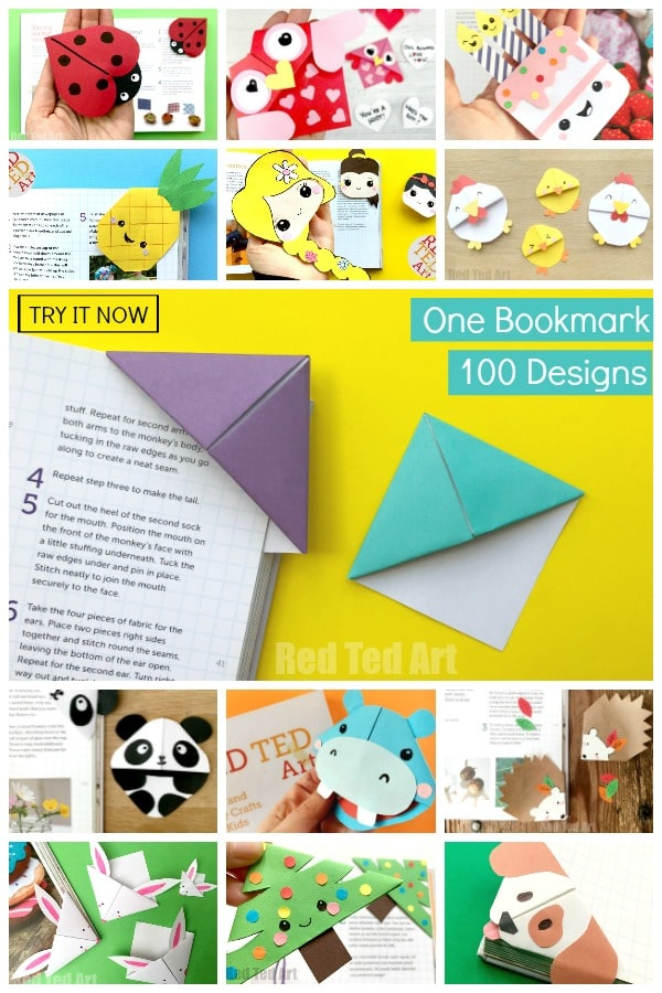 One Corner Bookmark Pattern. Over 100 Corner Bookmark Designs to make and have a go at! We love handmade bookmark diys!