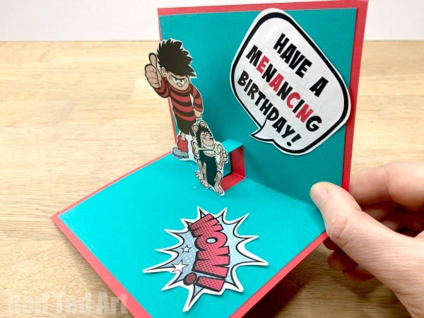How to make a Pop Up Birthday Bean Card! Diy Beano Pop Up Card with Free Printable to make for a Beano Fan's Birthday. The Beano Birthday Party Ideas #Popup #cards #cardmaking