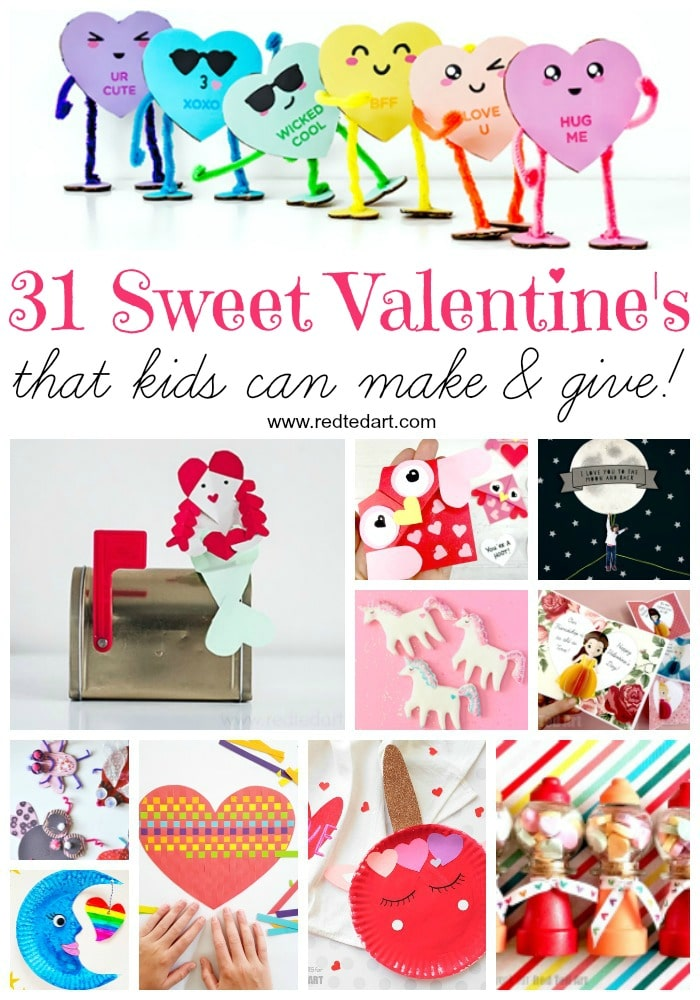 Sweet Valentine's Day Crafts Kids can Make and GIVE! Cute & Easy Valentine's Ideas For Kids and in the Classroom - brand new Valentine's Day Ideas to try out with the kids at home or classroom! Valentine's Day Crafts #valentines #kids #gifts