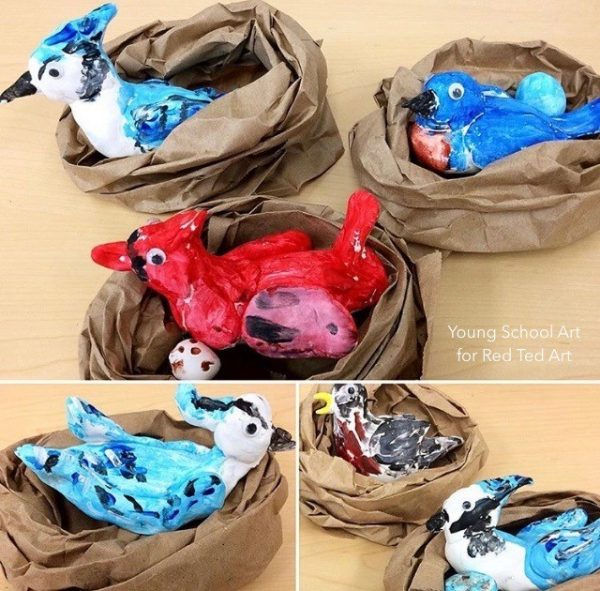 Easy Air Drying Clay Birds for Kids to make. Air drying clay projects for kids. Make these Blue Jays or Cardinals in Art Class or at home. Easy DIY Clay project ideas!! #clay #airdryingclay #projects #diy #ideas #birds