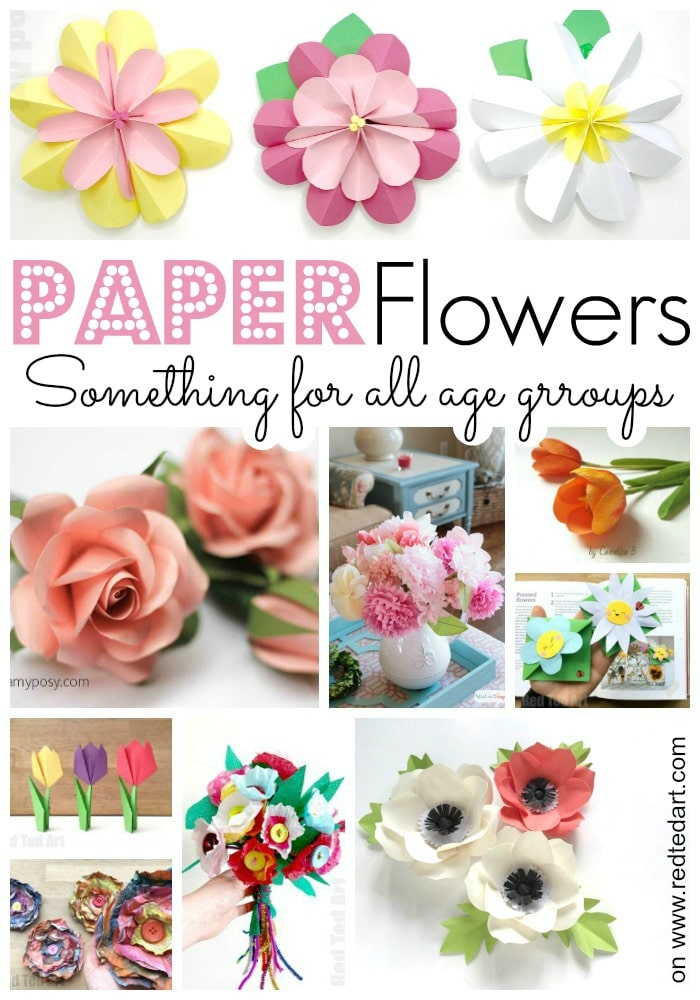 How to make paper flowers at home! A great selection of DIY Flower Crafts sorted by age groups. From Preschooler to Experience.From Mother's Day to Weddings #paper #papercrafts #tutorials #flowers #howto