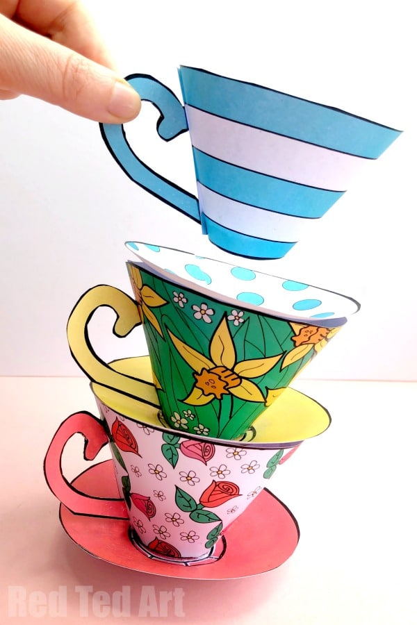 How To Make A Paper Tea Cup For Mother S Day Red Ted Art