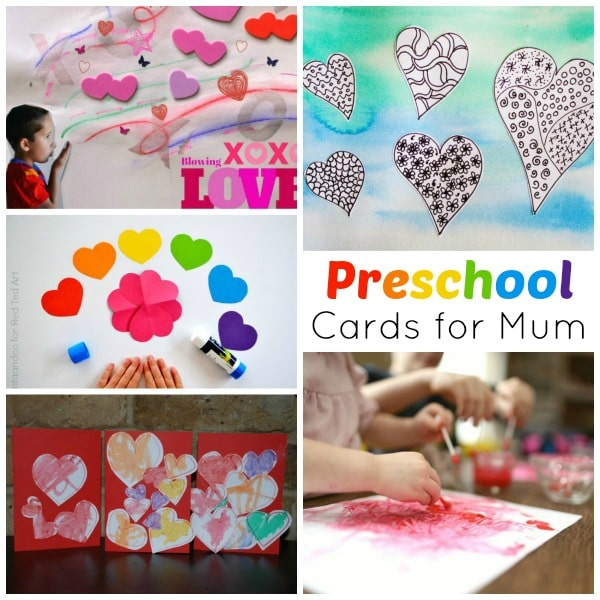 Collage of preschool card ideas for Mother's Day