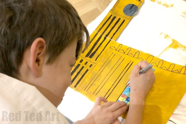 Boy drawing big ben