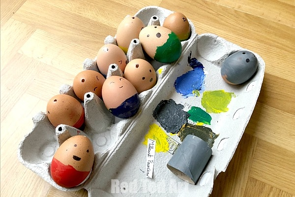 Easter Eggs Blown out and painted with faces