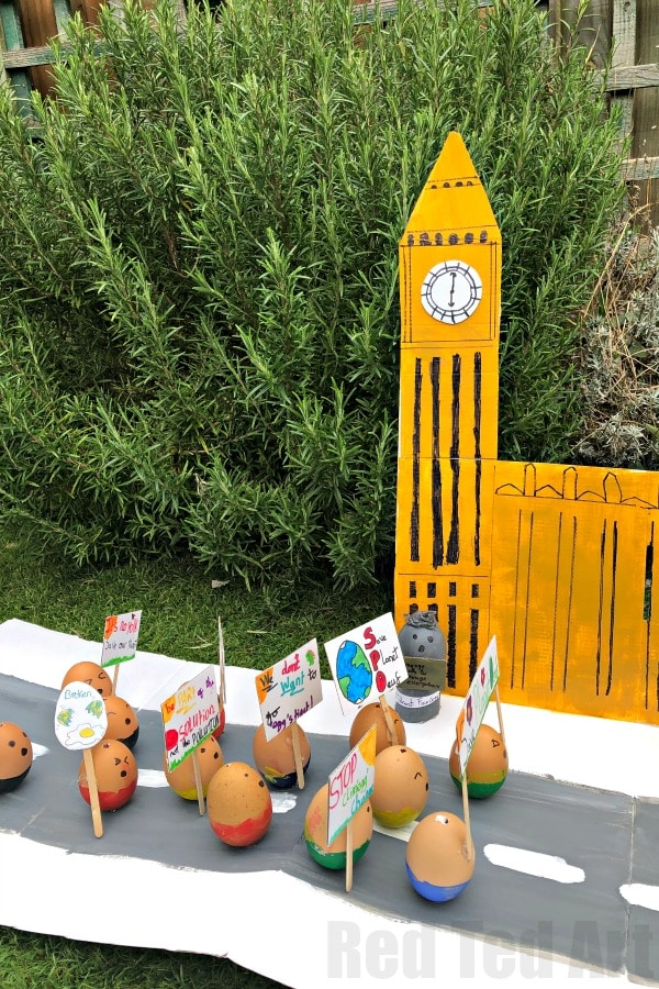 Model of Big Ben, Parliament and a Climate Change March made from eggs
