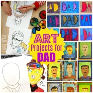Collage of Father's Day Art projects for kids