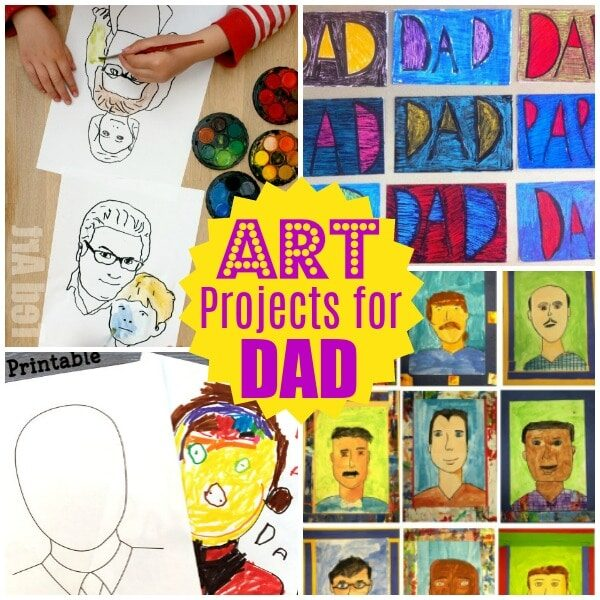 Collage of Father's Day Art Project for kids, including pop art