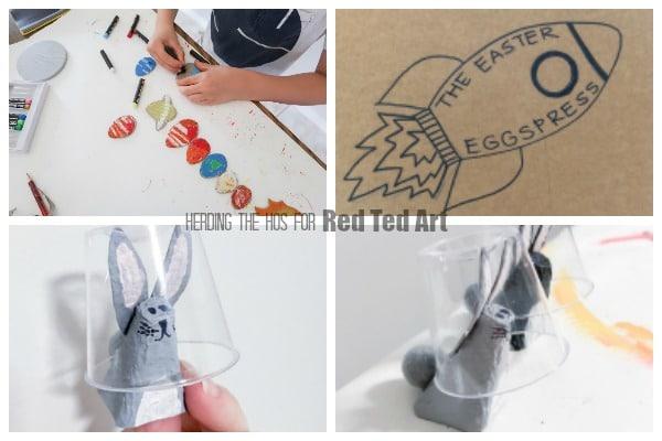 Steps for making a Space Easter Bonnet, including egg carton bunny