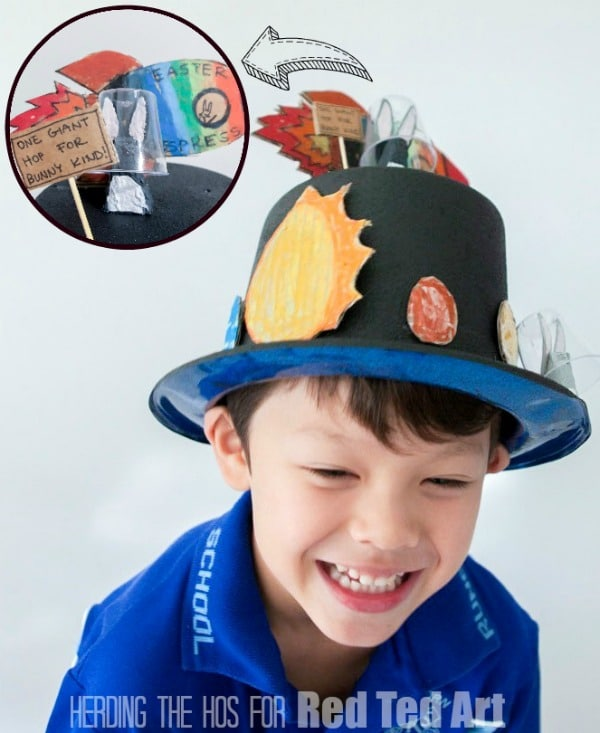 Solar System Easter Egg Bonnet - with Space Puns and Egg Carton Bunny