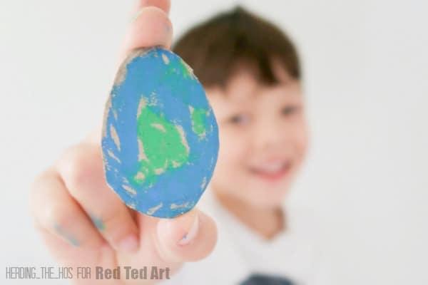 Easter Egg shaped Cardboard Earth and boy